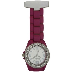 Bright Pink FOB Watch with Crystal Bezel