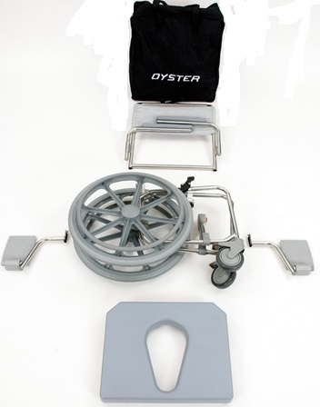 SPR400 Oyster Self Propelled  Folding Toileting Showering Chair