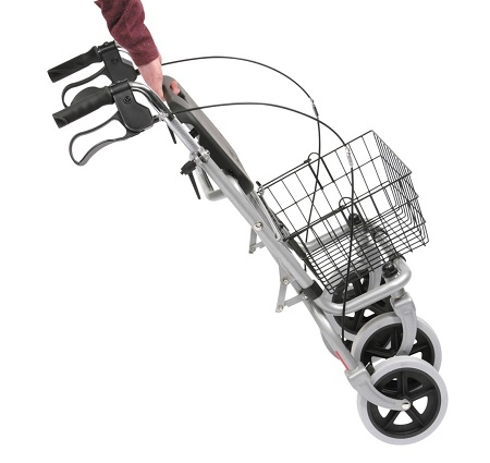 Dual Purpose  Steel Rollator for Walking and Shopping