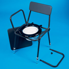 Adjustable Height  Detachable Arms Stacking Commode
