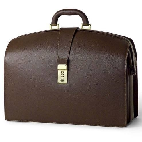 Doctors Briefcase in Firm Grain Embossed Leather - Brown