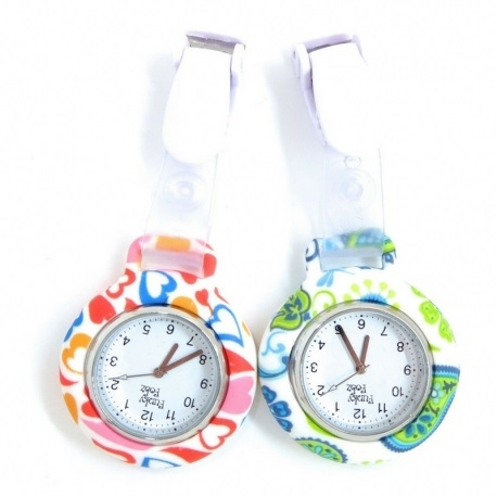 Silicone Clip On Watch Flower Pattern
