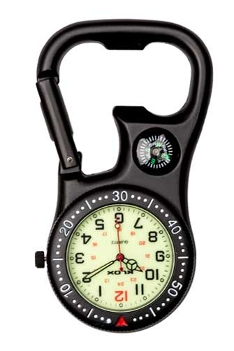 Black Compass Clip On Fob Watch