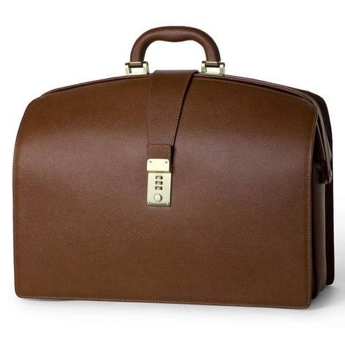 Doctors Briefcase in Firm Grain Embossed Leather - Cognac
