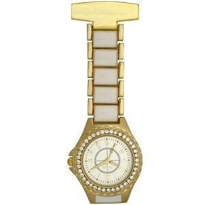 White and Gold  FOB Watch with Crystal Bezel