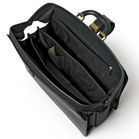 Doctors Briefcase in Firm Grain Embossed Leather- Black