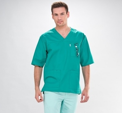 Short Sleeve V-Neck Medical Scrub Tunic For Men In Teal Small