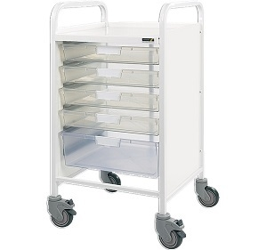 Trolley with 4 Single/1 Double Clear Trays Size101x56x52cm