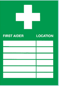 First Aiders and Location Sign